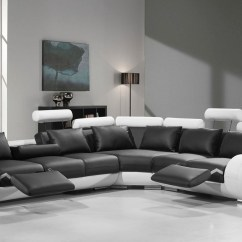 Modern Bonded Leather Sectional Sofa With Recliners Rattan Indoor Divani Casa 4087 Black And White Gallery Image 13 71
