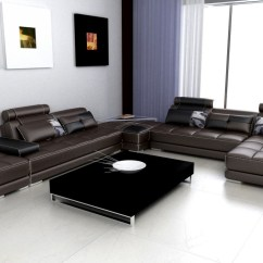 White Leather Sectional Sofa With Ottoman L Shaped Bed Argos Divani Casa Phantom Modern Espresso W Two Gallery Image 178 160