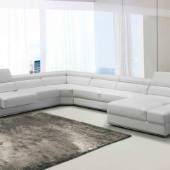 White Bonded Leather Sectional Sofa Set With Light Are Sofas Easy To Clean Divani Casa Pella Modern Gallery Image 33 49