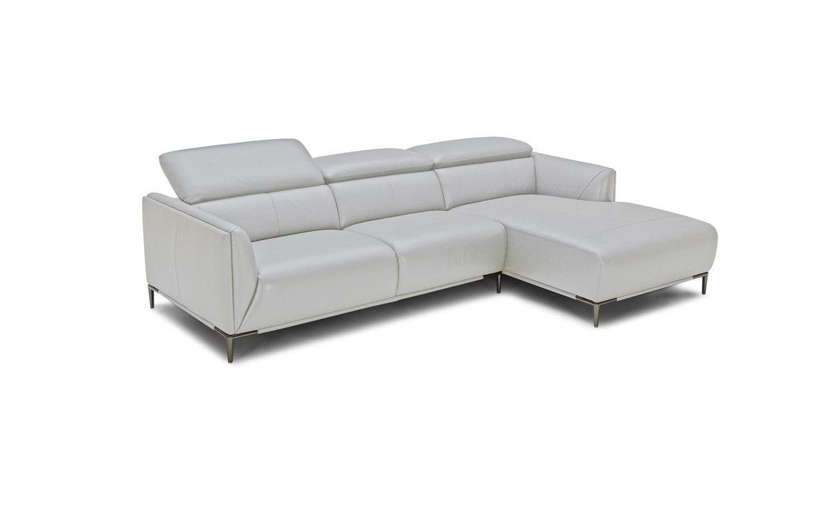 Divani Casa Belfast Modern Grey Leather Sectional Sofa