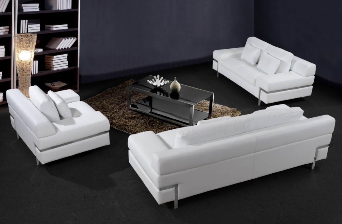 leather sofa sets modern cordaroys king bean bag bed reviews divani casa clef white set