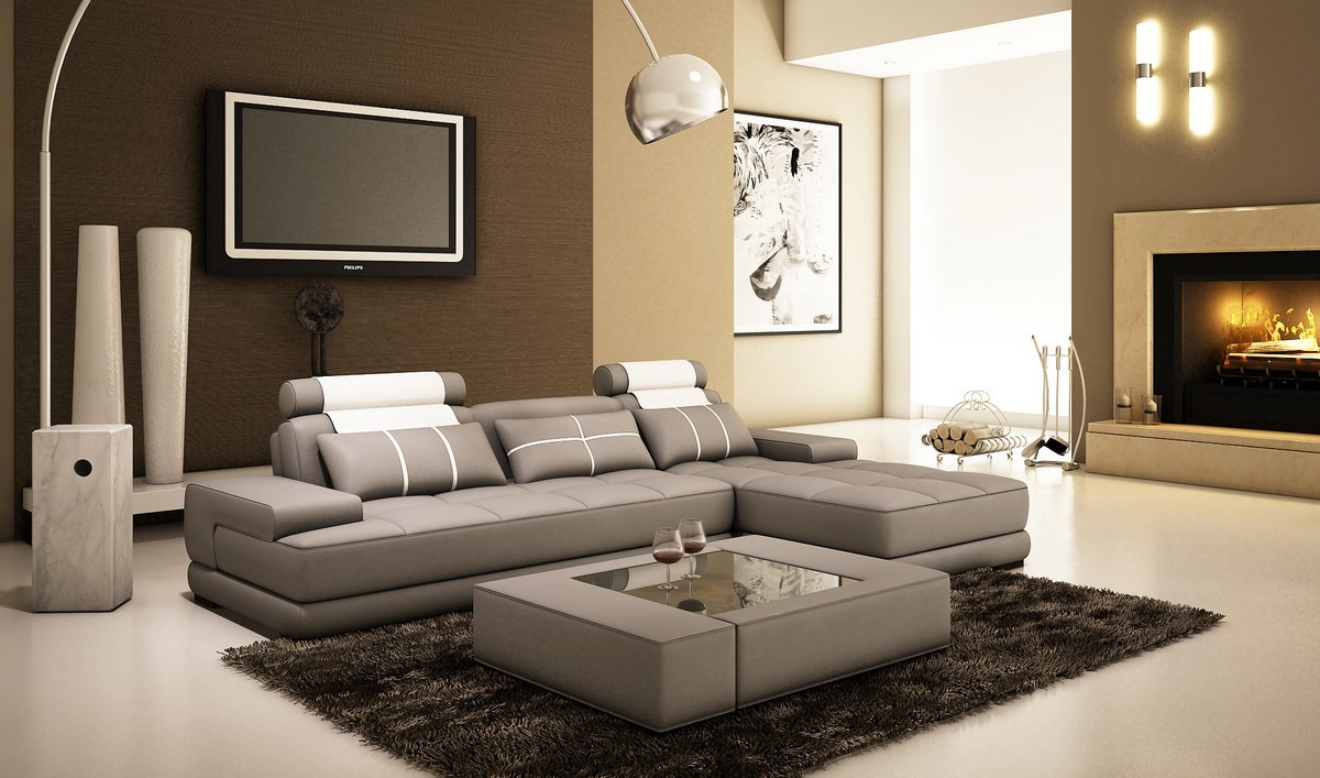Divani Casa 5005a Mini Modern Grey And White Bonded Leather Sectional Sofa W Coffee Table Special Order Cat B