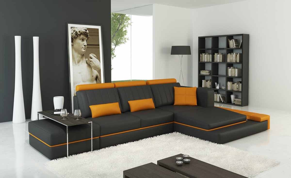 Divani Casa 5029B Modern Dark Grey and Orange Bonded Leather Sectional Sofa