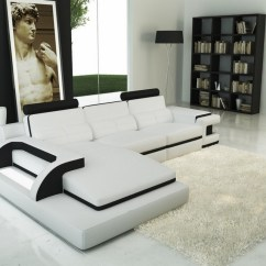 Divani Casa 5106 Modern White Italian Leather Sectional Sofa Green Set 6122b And Black Bonded