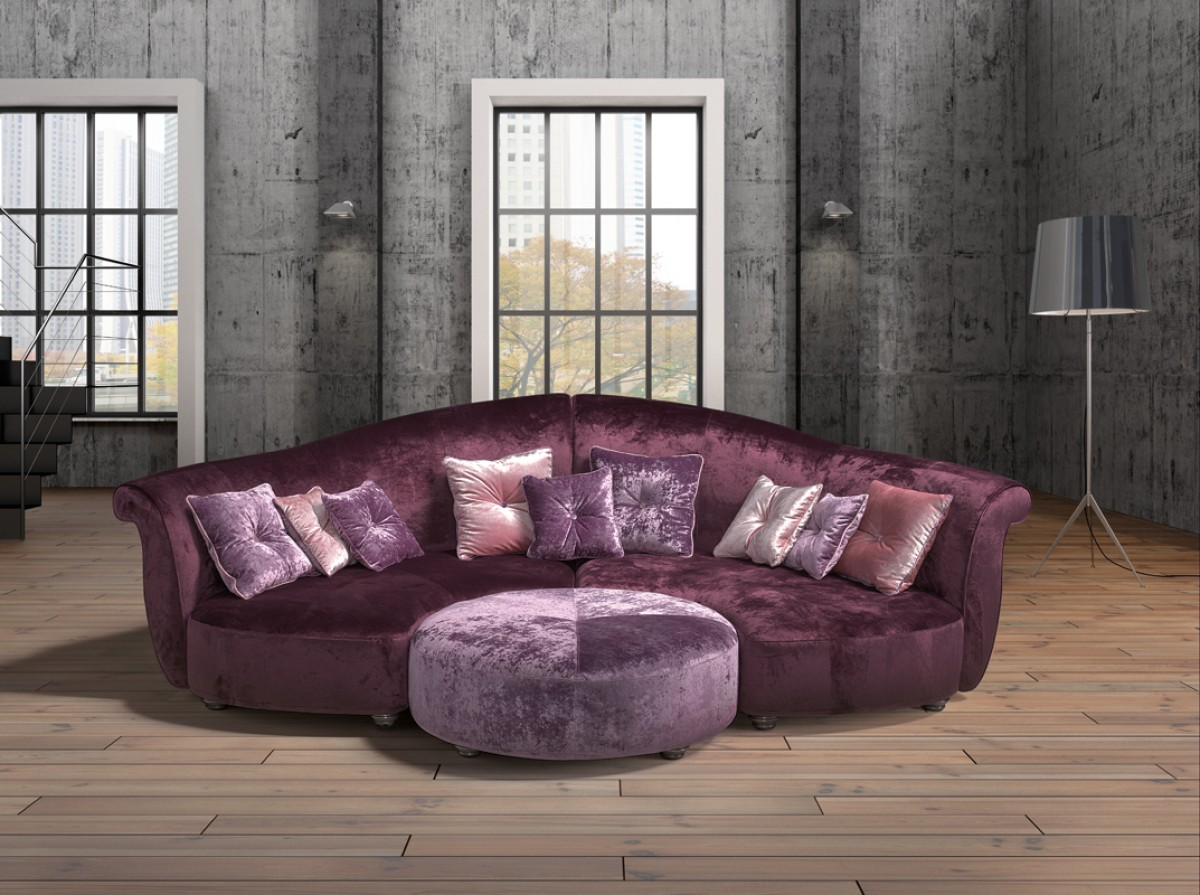 purple contemporary sofa modern duke sectional bed estro salotti allegretto fabric