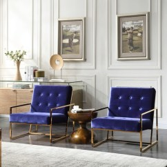 Accent Armchairs For Living Room Corduroy Set Modrest Samara Modern Blue & Gold Chair