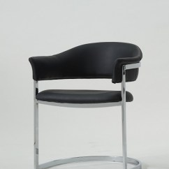 Grey Upholstered Chair Custom Director S Los Angeles Modrest Allie Contemporary Black Leatherette Dining - Chairs