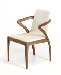 Modrest Falcon Modern Walnut and Cream Dining Chair ...