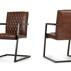 Modern Leather Dining Chairs With Arms Red And Black Office Chair Lipan Cognac Arm Set Of 2