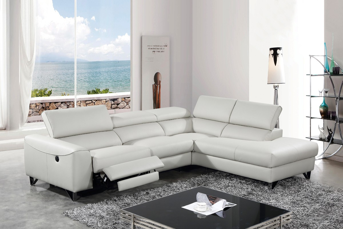 Divani Casa Versa Modern Light Grey EcoLeather Sectional