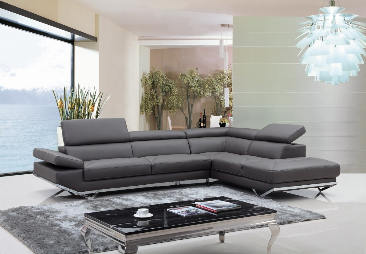 Divani Casa Quebec Modern Dark Grey EcoLeather Sectional