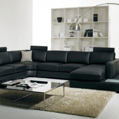 Living Room Black Leather Sectional Pictures Of Decorated Walls T35 Modern Furniture Divani Casa Bonded Sofa With Light