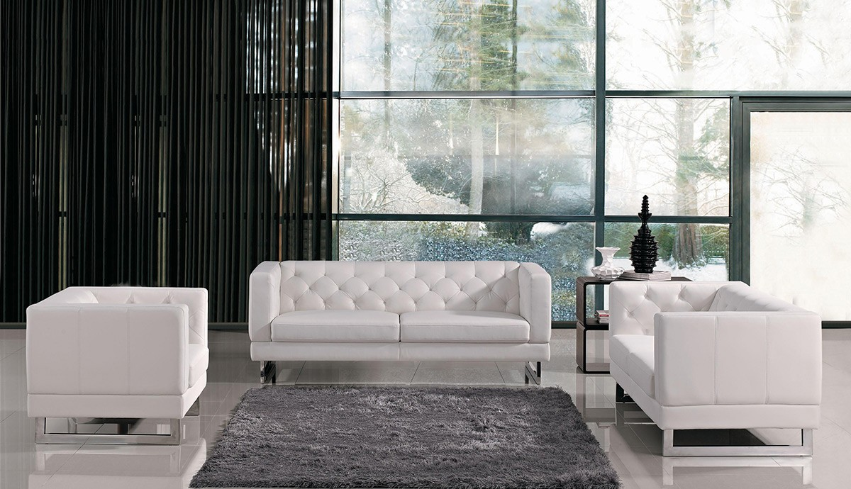 modern tufted eco leather sofa set