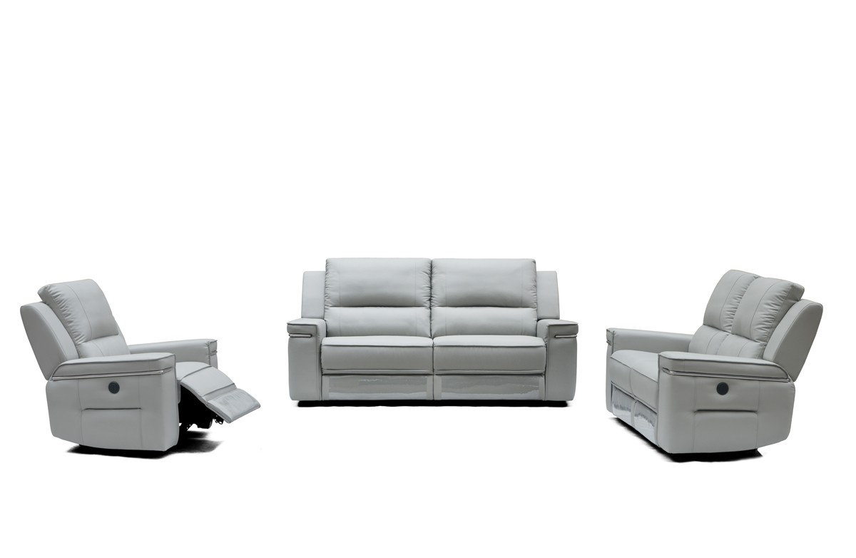 electric sofa set haven contemporary style white bonded leather sectional divani casa hearst modern grey leatherette w