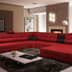 Italian Leather Recliner Sofa Set Futon Bed For Everyday Use Divani Casa Polaris Dark Red Bonded Sectional