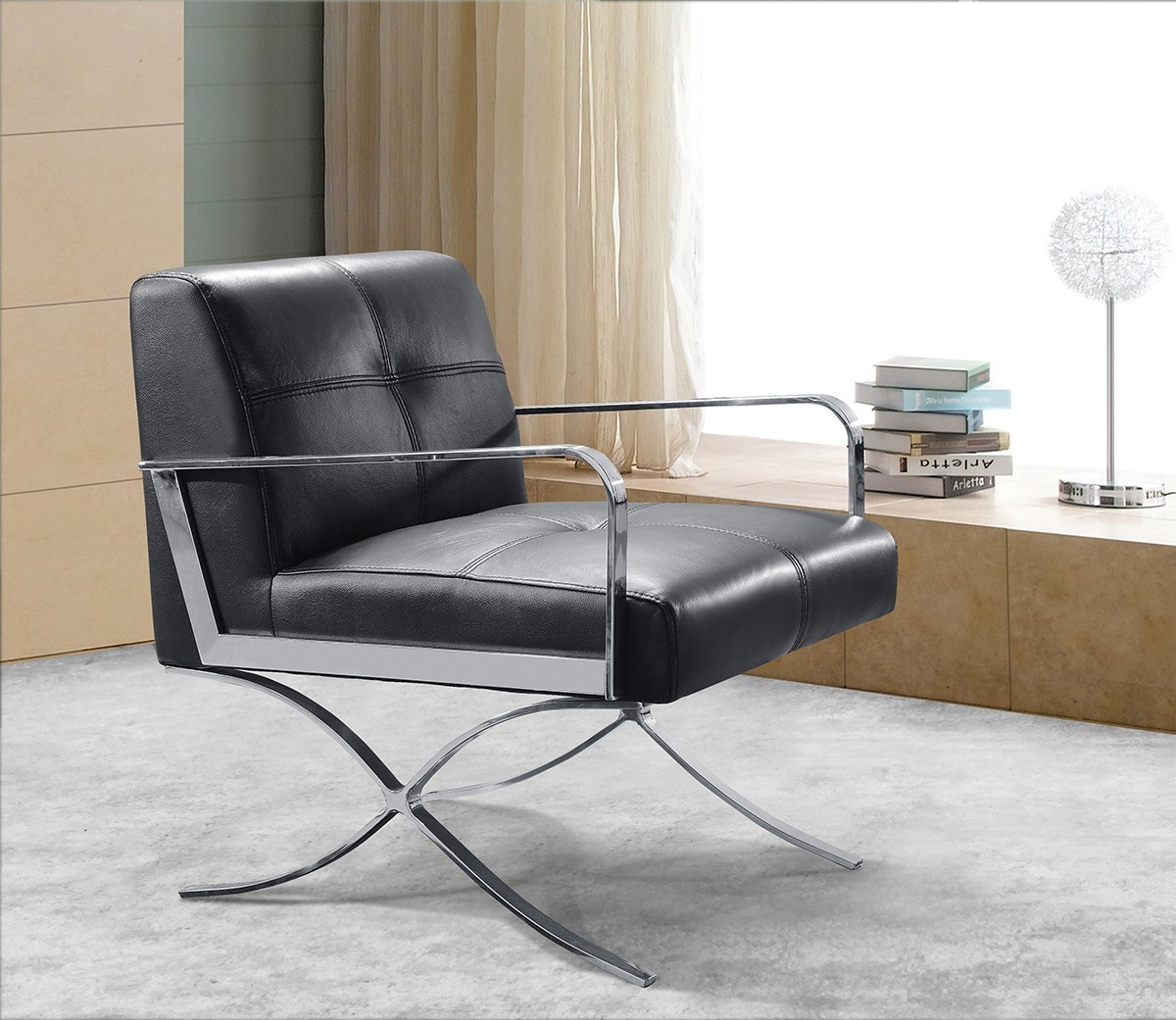 modern black leather recliner chair flip sleeper divani casa delano lounge
