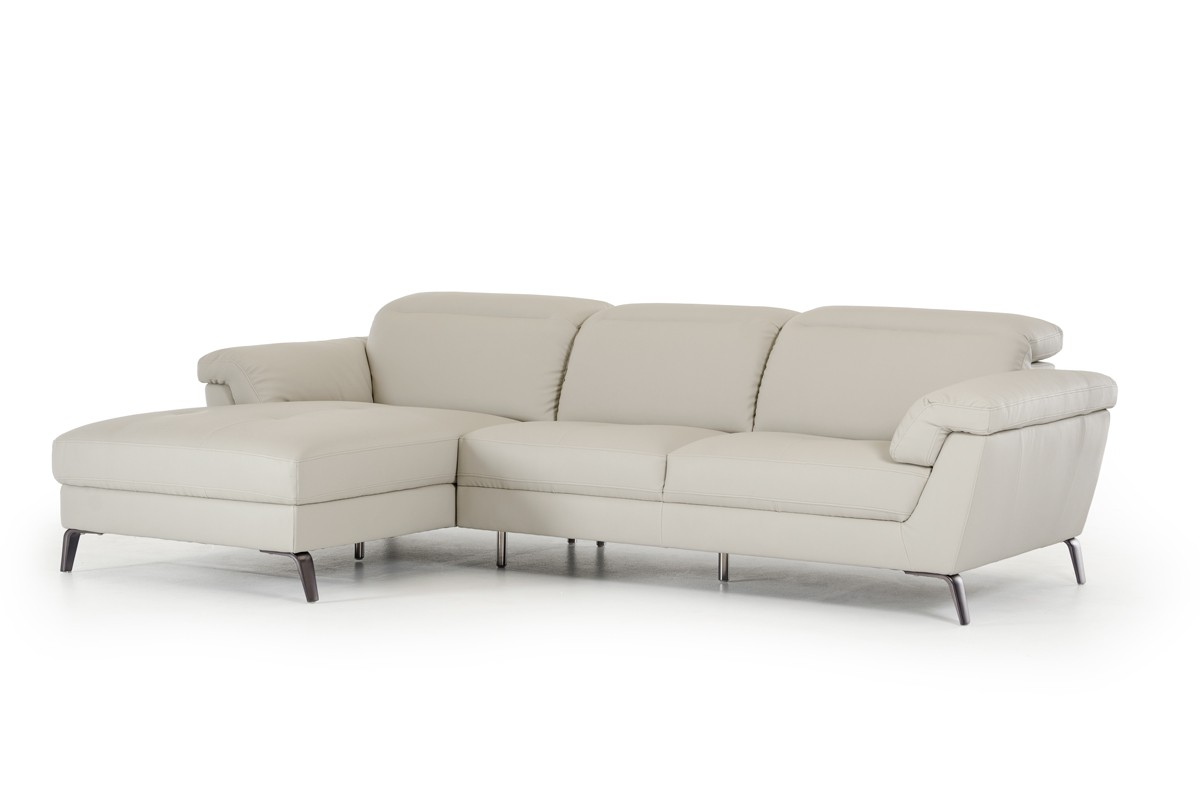 light gray sectional sofa 3 seater recliner covers divani casa edelweiss modern grey eco leather
