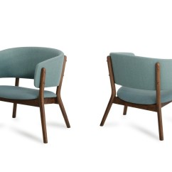 Modern Blue Chair Outside Fire Pit Chairs Dante Fabric And Walnut Accent Set Of 2