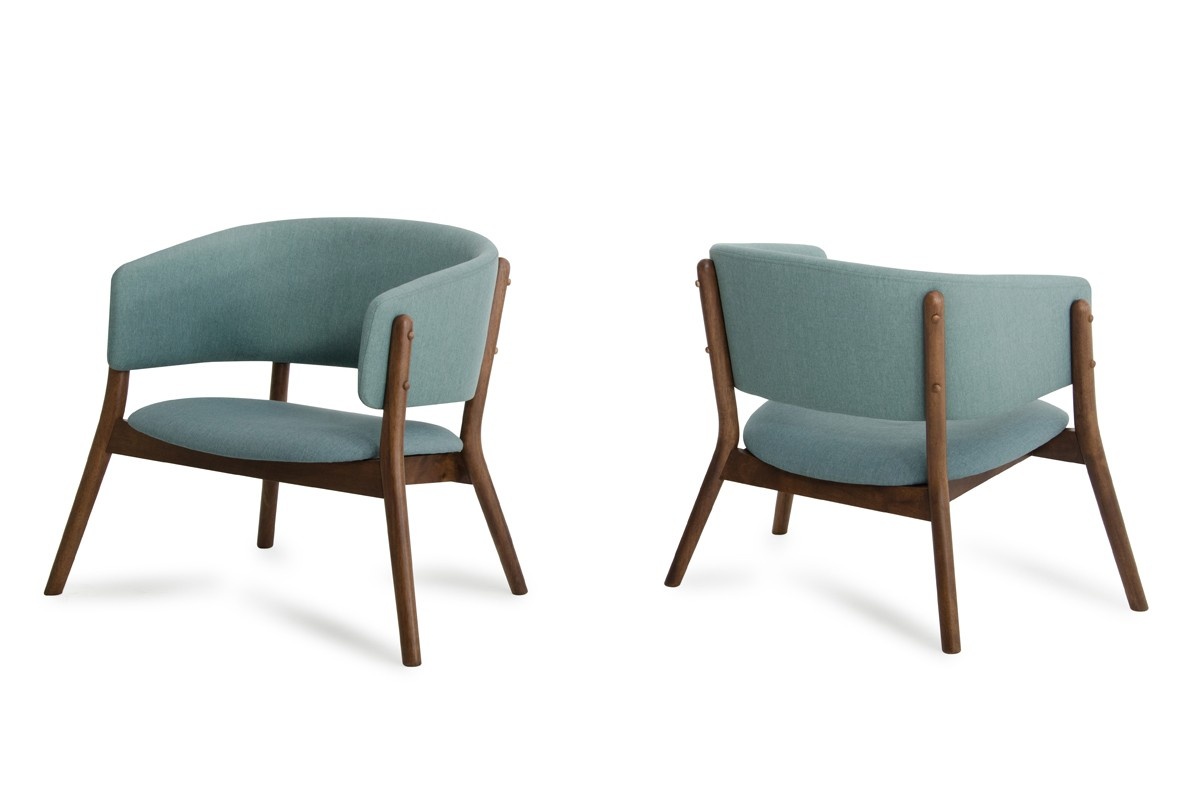 contemporary accent chair wooden chairs for dining room dante modern blue fabric walnut set of 2 gallery image 122 141