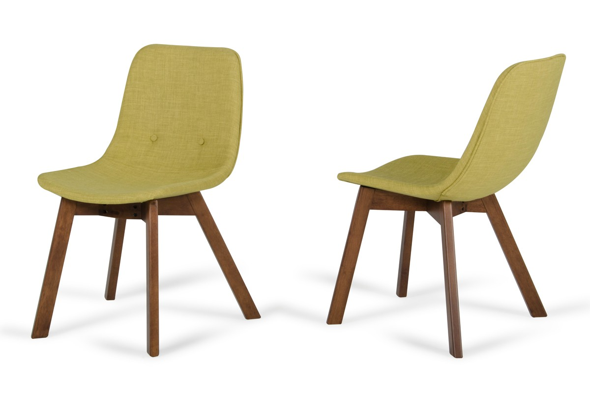 modern green dining chairs outdoor sling chair replacement fabric laken tea and walnut set of 2