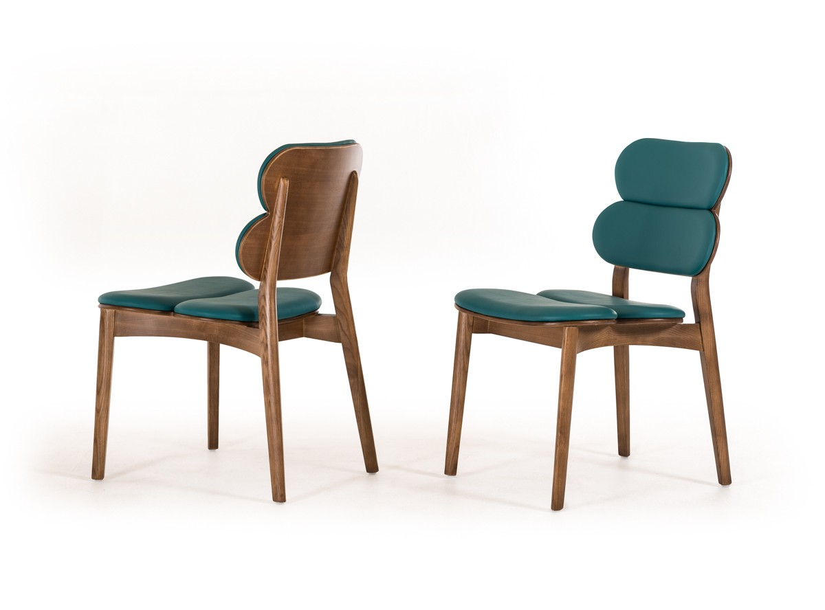 Raeanne  Modern Turquoise  Walnut Dining Chair Set of 2