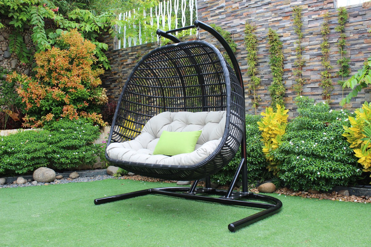 hanging lawn chair swivel fabric renava san juan outdoor black and beige