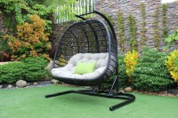 Renava San Juan Outdoor Black & Beige Hanging Chair - Outdoor