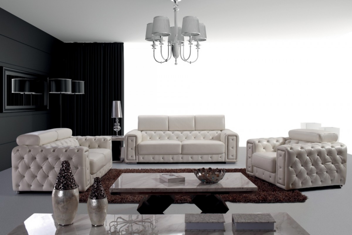 huge italian white leather modern sectional sofa set harveys fairmont review divani casa lumy tufted