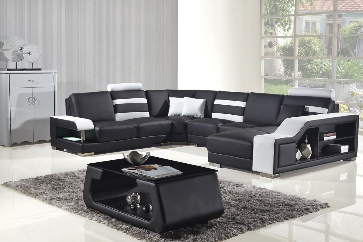 816 modern black and white leather sectional sofa build a divani casa t356 bonded