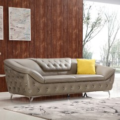 Taupe Color Leather Sofa Traditional Bed Divani Casa T762 Modern Tufted Set W
