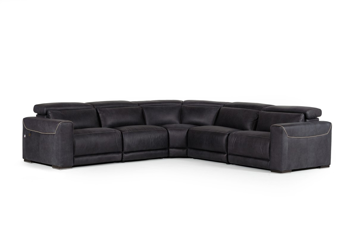 modern sectional sofa with recliner grey fabric dfs estro salotti thelma black italian leather