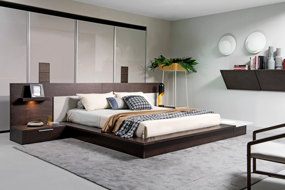 Modrest Torino Contemporary Brown Oak  Grey Platform Bed w Lights  Modern Bedroom  Bedroom