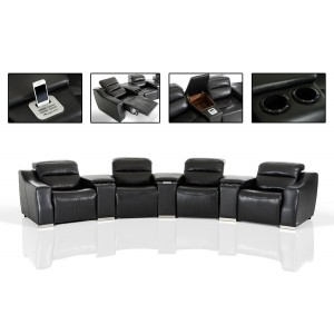 4087 modern bonded leather sectional sofa with recliners sofas for gray walls divani casa roslyn white set w ...