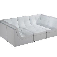 White Bonded Leather Sectional Sofa Set With Light Power Recliner Problems Divani Casa 207 Modern