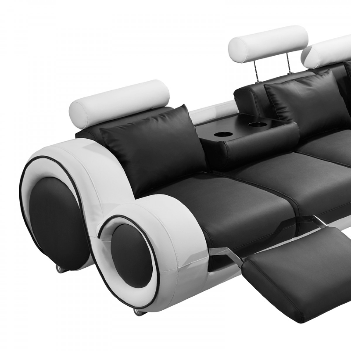 4087 modern bonded leather sectional sofa with recliners buy uk online divani casa black and white