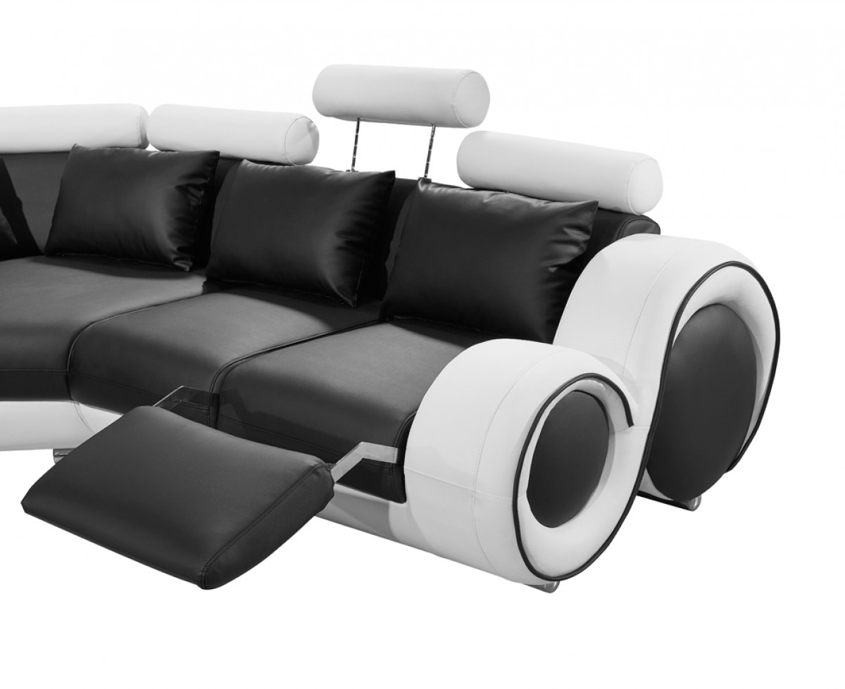 4087 modern bonded leather sectional sofa with recliners plush and loveseat divani casa black white