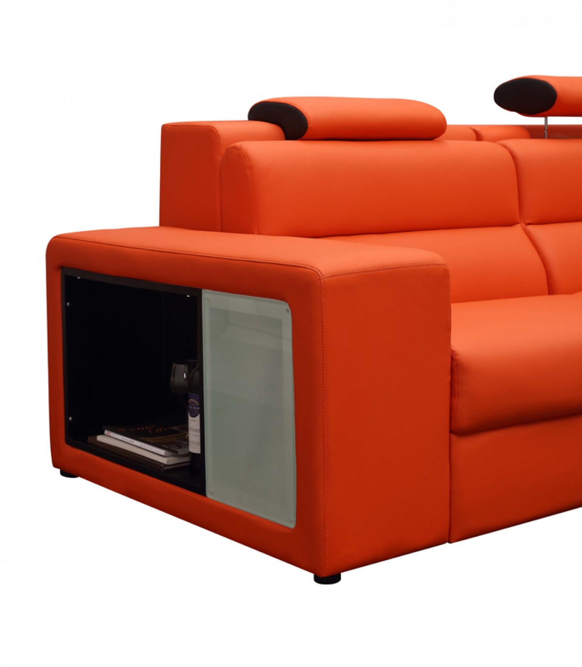 mini sectional leather sofa interchangeable bed with storage divani casa polaris contemporary bonded