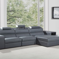 T35 Mini Modern White Leather Sectional Sofa High End Brands Polaris Contemporary In Grey