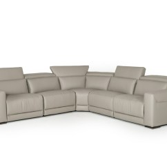 Grey Leather Sectional Sofa With Recliners Cars Flip Bed Sleeping Bag Estro Salotti Thelma Modern W