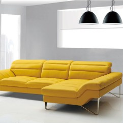 Leather Modern Sofa Table Divani Casa Leven Yellow Sectional