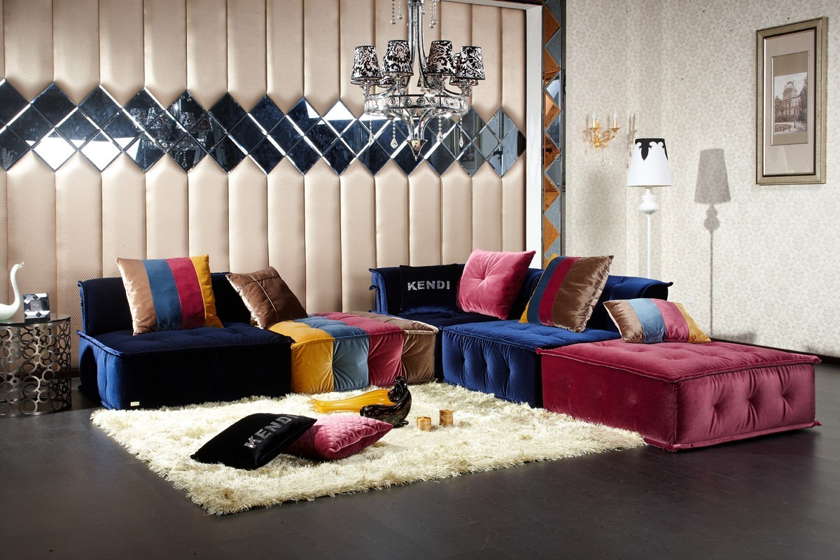 Divani Casa Dubai  Contemporary Fabric Sectional Sofa
