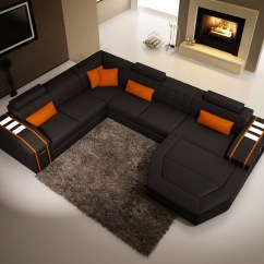 Corner Sofa With Chaise Sheets Divani Casa 5038 Modern Black And Orange Bonded Leather ...