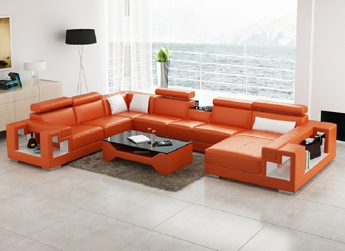orange color sofa taylor king sectional sofas divani casa 6138 modern and white bonded leather