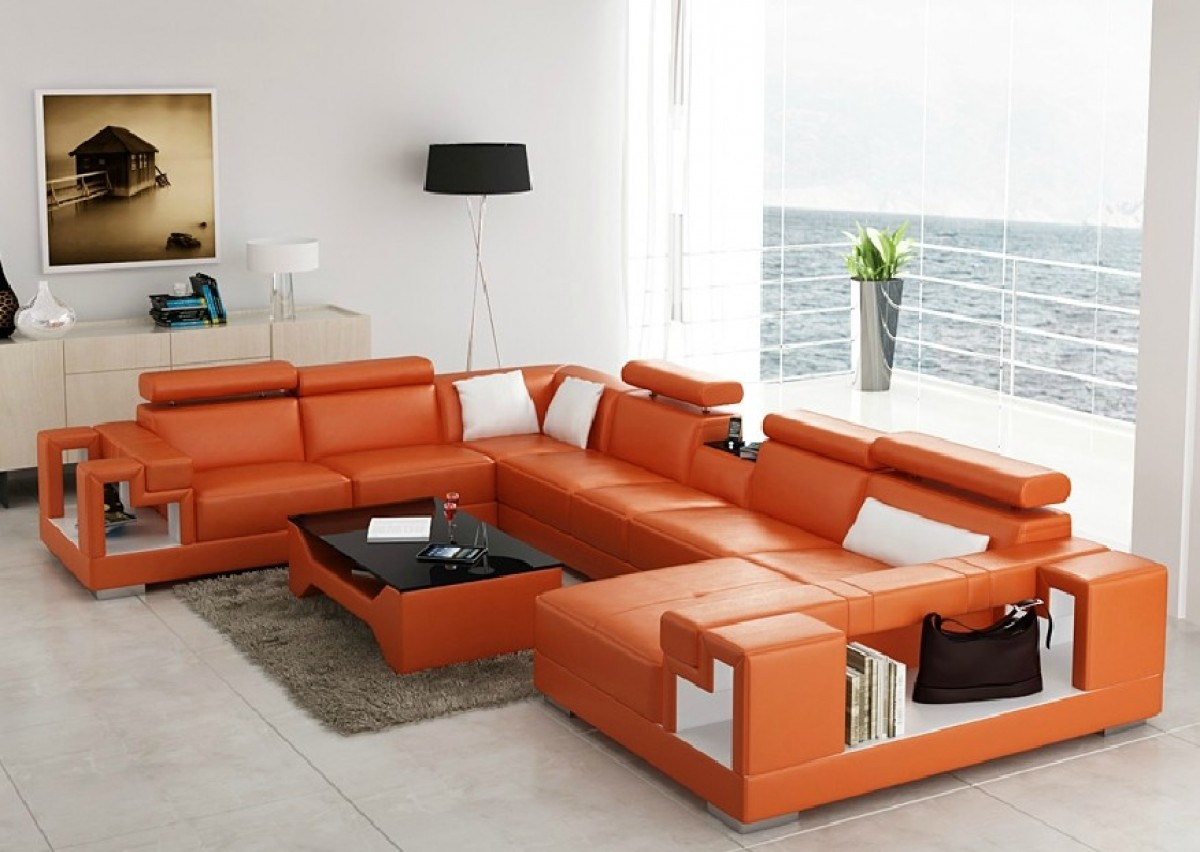 orange color sofa foot divani casa 6138 modern and white bonded leather