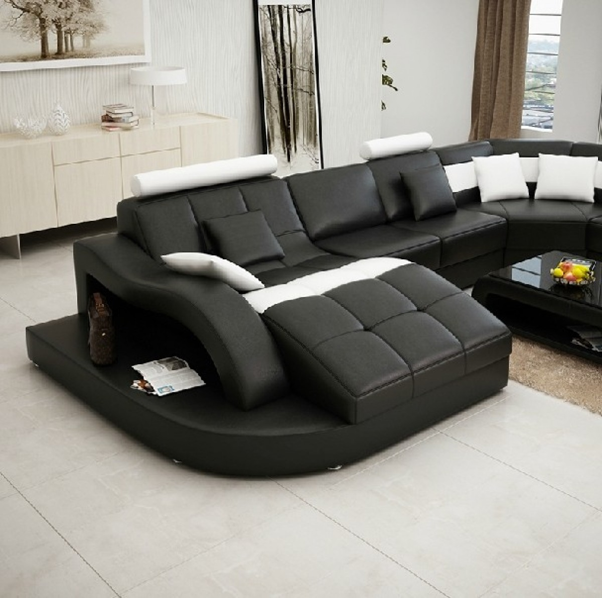 home theater leather sofa sam s club power reclining divani casa 6140 modern black and white bonded