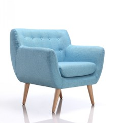 Modern Blue Chair High Cover Pad Divani Casa Albany Fabric Accent