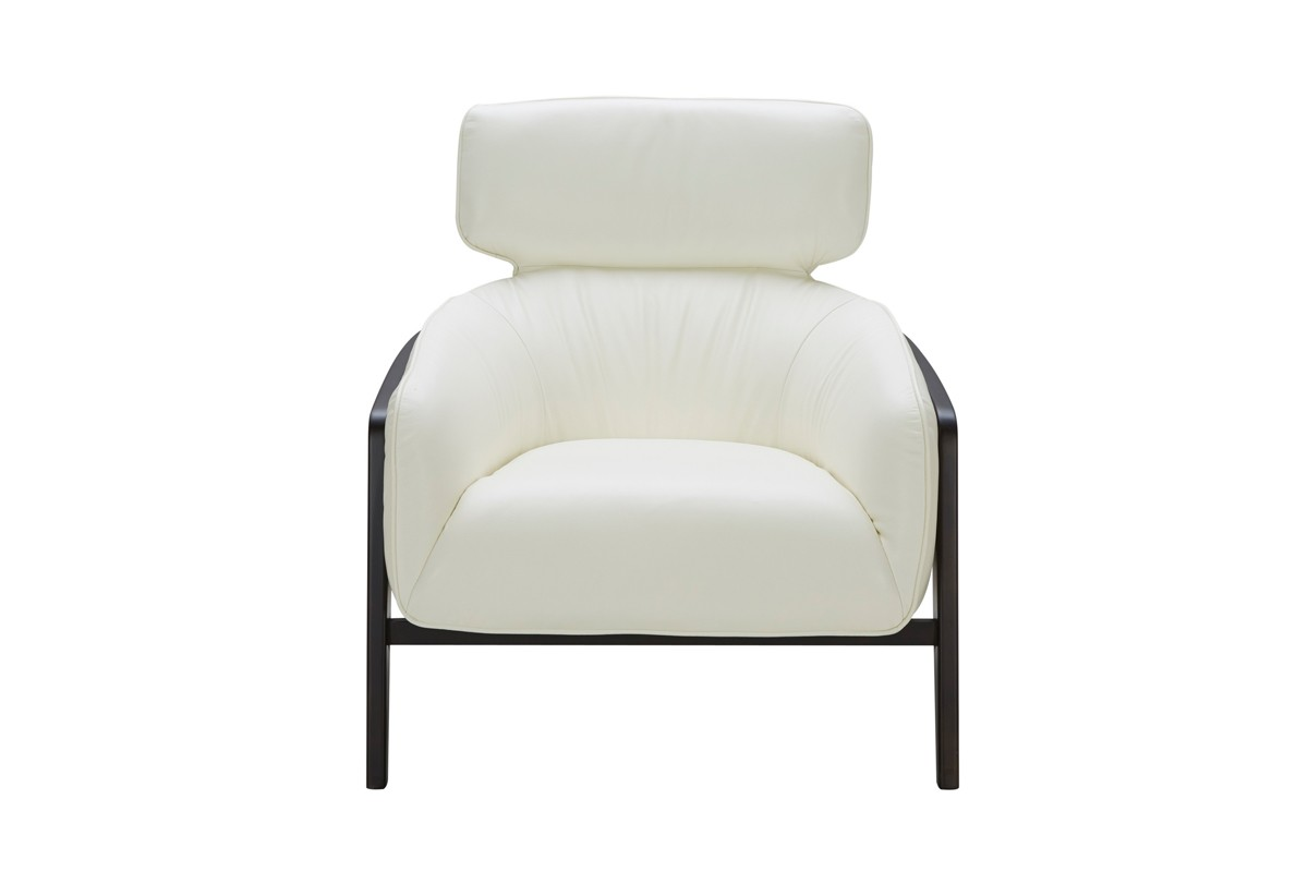 white leather accent chair modern plastic table and chairs divani casa beaufort