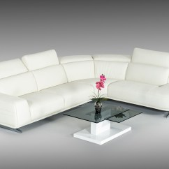 Leatherette Vs Fabric Sofa Outlet Glasgow Divani Casa Benson Modern White Sectional