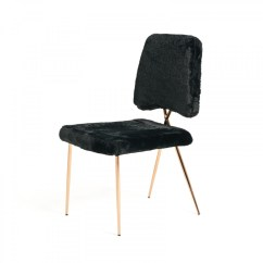 Modern Black Chair Set Xl Zero Gravity With Canopy Footrest Candace Faux Fur Dining Of 2