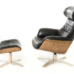 Modern Leather Chair And Ottoman Floor Protector For Chairs Divani Casa Charles Black Reclining W
